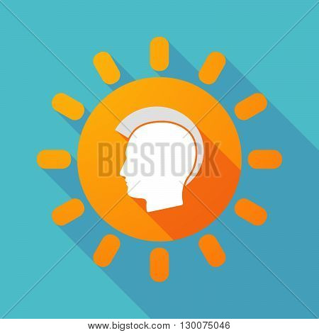 Long Shadow Sun With  A Male Punk Head Silhouette