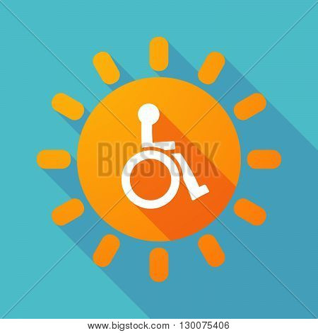 Long Shadow Sun With  A Human Figure In A Wheelchair Icon