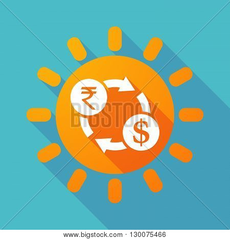 Long Shadow Sun With  A Rupee And Dollar Exchange Sign