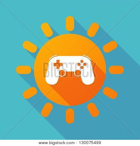 Long Shadow Sun With  A Game Pad