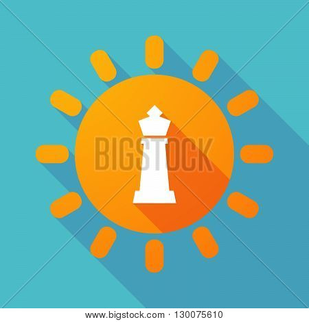 Long Shadow Sun With A  King   Chess Figure