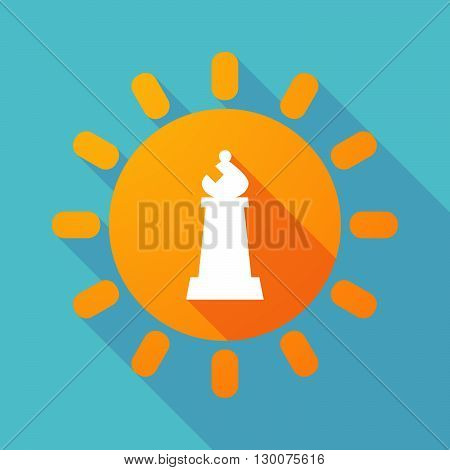 Long Shadow Sun With A Bishop    Chess Figure