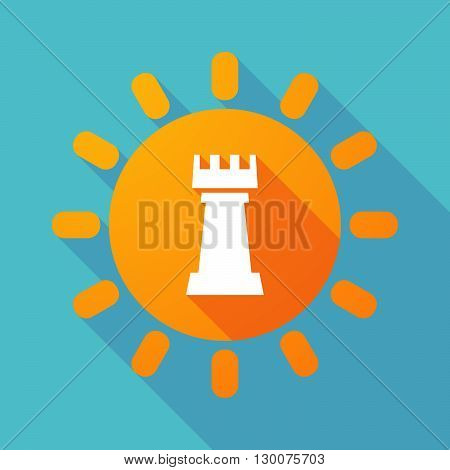 Long Shadow Sun With A  Rook   Chess Figure
