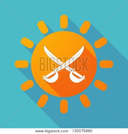Long Shadow Sun With  Two Swords Crossed