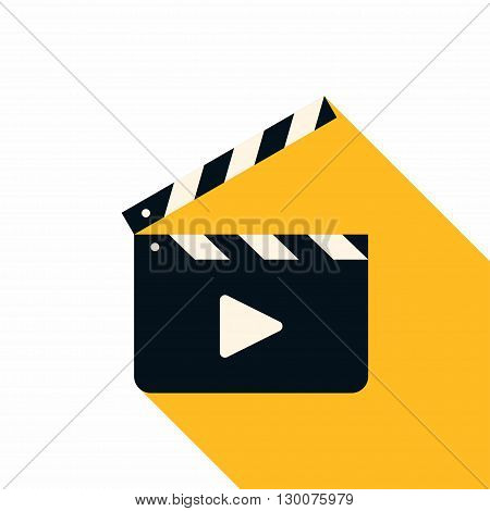 Movie Clapper Board. Flat Style Vector Icon with Long Shadow
