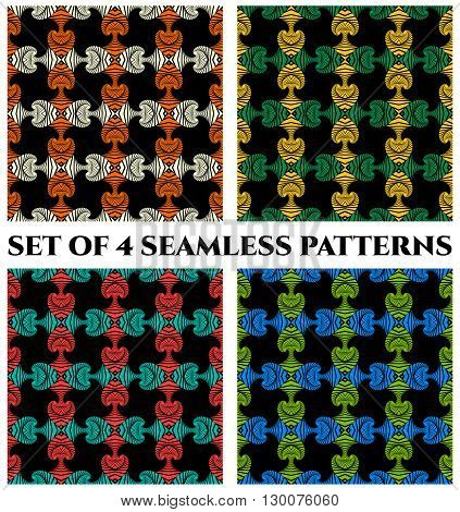 Set of 4 abstract fashionable seamless patterns with decorative ornament of red, green, blue, yellow, orange and white shades on black background