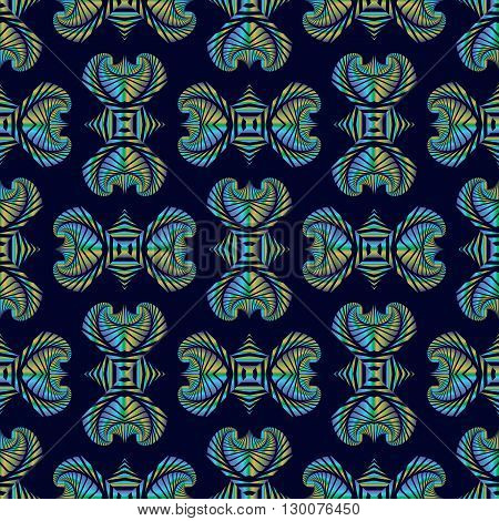 Abstract deluxe seamless pattern with colorful metallic decorative ornament on dark blue background