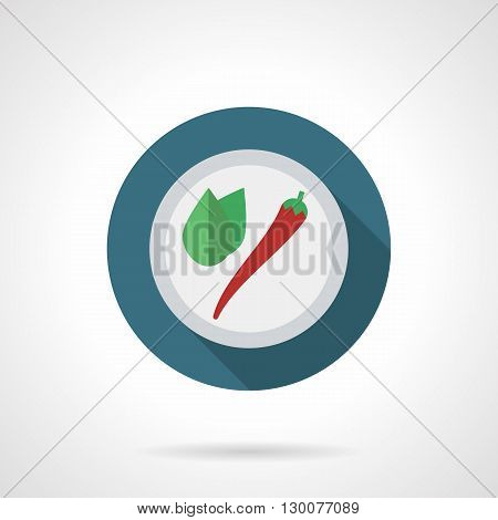 Red cayenne pepper with green leaves on plate. Hot ingredients for cooking on kitchen, fresh vegetables and spices for restaurants. Round flat color style vector icon.