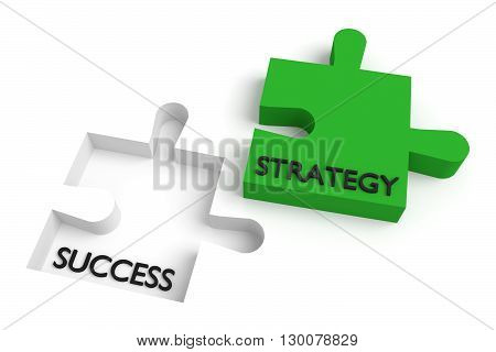 Missing puzzle piece strategy and success green, 3d illustration