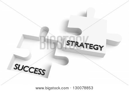 Missing puzzle piece strategy and success white, 3d illustration
