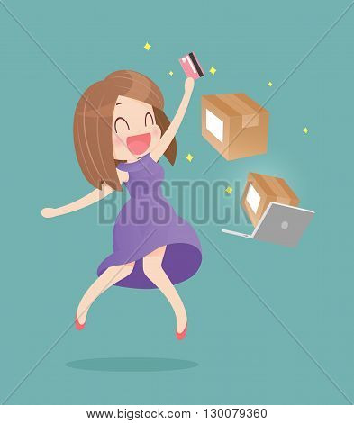 Happy woman doing online shopping, Vector cartoon