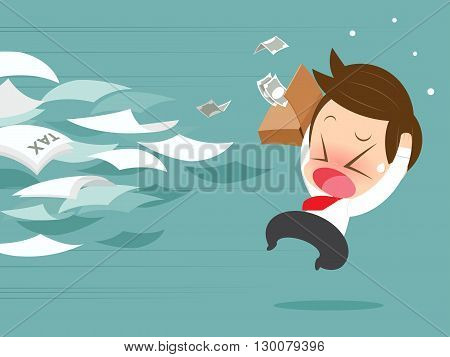 Businessman running away from tax, Vector cartoon