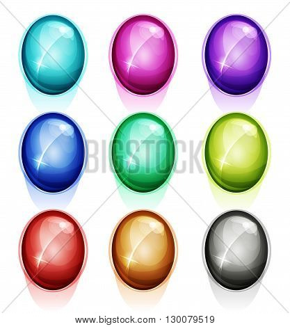 Illustration of a set of glossy and bright cartoon rounded gems stones diamonds minerals crystal jewels and assets icons for web buttons and puzzle game ui