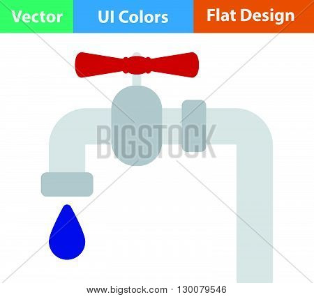 Flat Design Pipe With Valve Icon