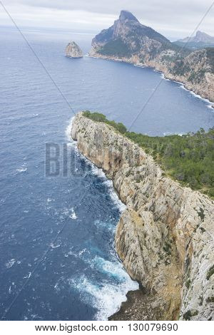 rocks, views of Cape formentor in the tourist region of Mallorca, located northeast of the island