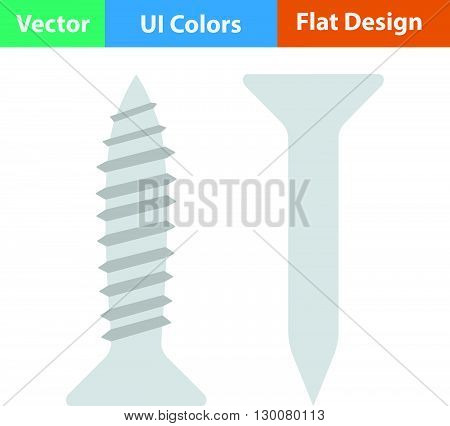 Flat Design Icon Of Screw And Nail