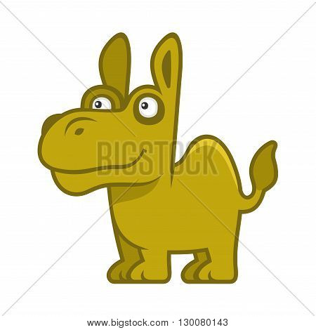 Camel. Cartoon Style Funny Animal on White Background. Vector illustration