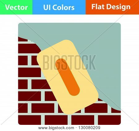 Flat Design Icon Of Plastered Brick Wall