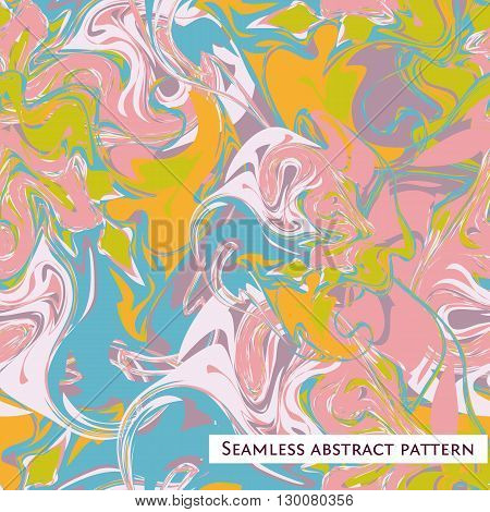 Abstract art background. Seamless color pattern. Vector illustration. Marble texture. Colorful bright artistic splash, wave and stains. Chaotic pink, blue, orange and white stains.