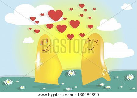 Falling in love ghosts, solar landscape. Green meadows, sky, white clouds, daisies, yellow sun, red heart. Valentine's day, wedding, vector