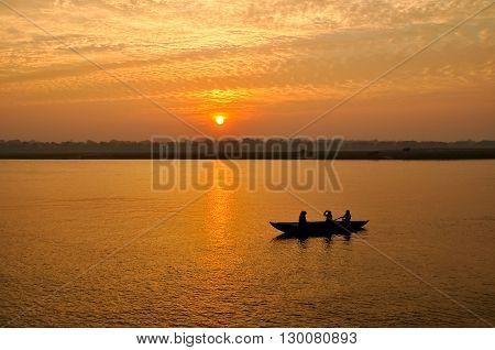 Sunset on Ganga river in Varanasi, India.