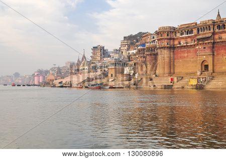 VARANASI INDIA - DECEMBER 27: beautiful view on city in the morning on December 27 2013 in Varanasi.