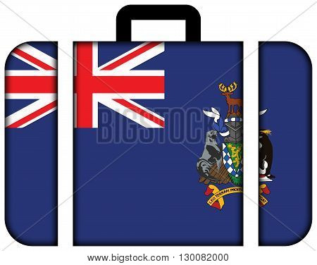 Flag Of South Georgia And The South Sandwich Islands. Suitcase Icon, Travel And Transportation Conce
