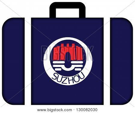 Flag Of Suzhou, China. Suitcase Icon, Travel And Transportation Concept