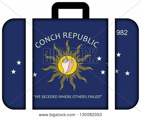 Flag Of The Conch Republic (key West, Florida). Suitcase Icon, Travel And Transportation Concept