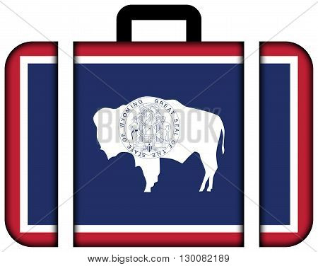 Flag Of Wyoming State. Suitcase Icon, Travel And Transportation Concept