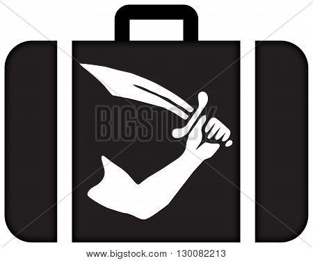 Thomas Tew Pirate Flag. Suitcase Icon, Travel And Transportation Concept