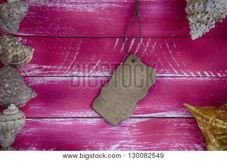 Retro pink wooden background with shells and blank piece of paper for the label