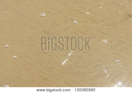 Wet sand at the beach and the water foam. Background.
