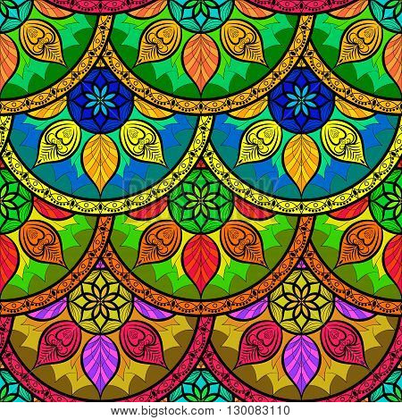 Vector Seamless Colour Floral Mandala Pattern. Seamless pattern for your designs invitation card yoga meditation astrology and other wrapped projects. Pattern in swatches panel.