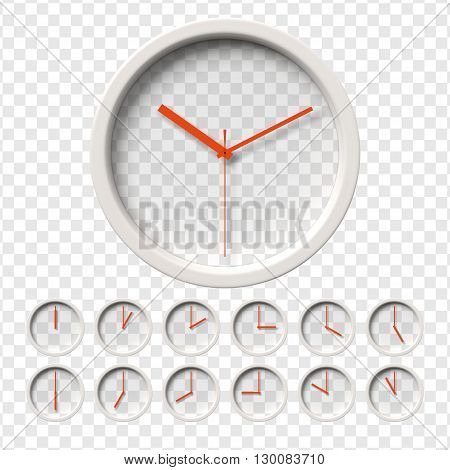 Realistic Wall Clocks set. Transparent face. One clock for every hour. Red hands. Ready to apply. Graphic element for documents, templates, posters, flyers. Vector illustration