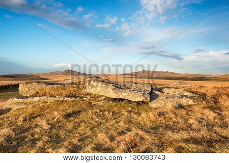 Looking out at the peaks of Roughtor and Brown Willy from Alex Tor near St Breward on Bodmin Moor in Cornwall