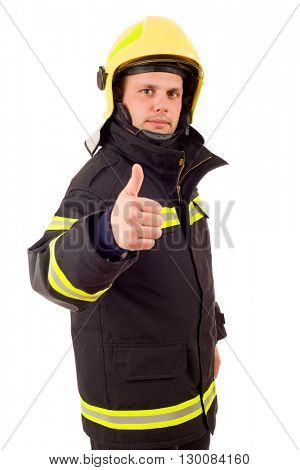 fire fighter going thumb up, isolated on white background