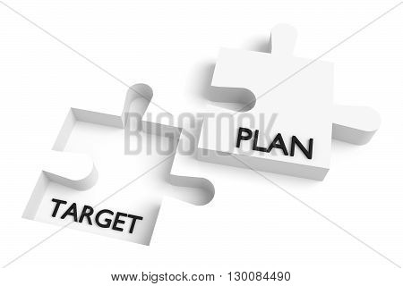 Missing puzzle piece target and plan white, 3d illustration