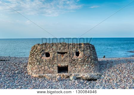 Pillbox On The Beach At Porlock Weir
