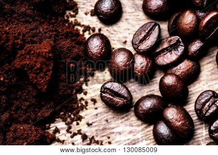 Coffee Beans/ Ground Coffee top view image / Natural coffee background