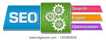 SEO - Search Engine Optimization concept image with text and related symbol.
