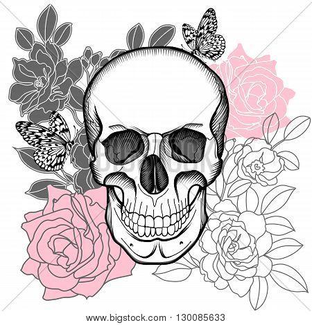 Human skull, rose skull, flower skull, tattoo skull, rose skull, wrapper skull, spooky skull, fashion skull, background skull, pattern skull. Vector.