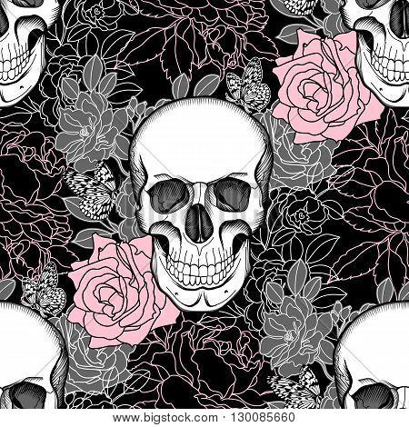 Seamless skull, rose skull, flower skull, tattoo skull, rose skull, wrapper skull, spooky skull, fashion skull, background skull, pattern skull. Vector.