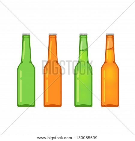 Beer bottles vector collection isolated on white background, empty and full beer bottle flat cartoon design