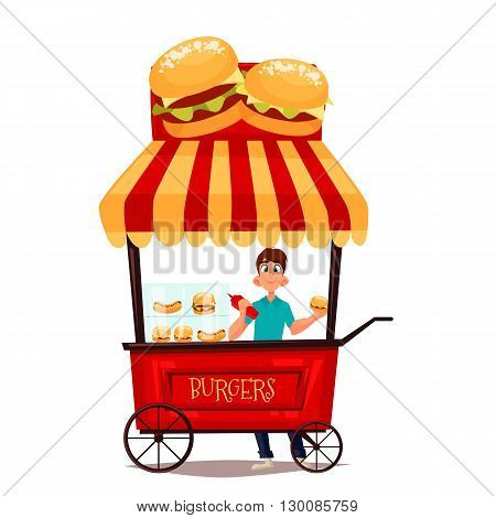 Street selling burgers, cartoon comic illustration, mobile retro shop with burgers, selling fast food on the street, comic boy street vendor hamburger