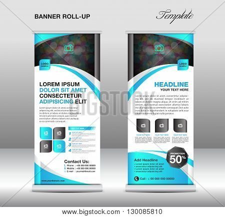Roll up banner stand template stand design banner template Blue banner advertisement vector illustration
