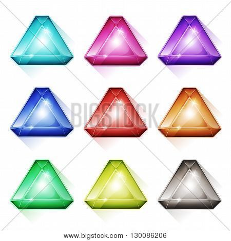 Illustration of a set of glossy and bright cartoon triangle gems stones diamonds minerals crystal jewels and assets icons for luxury imagery and puzzle game ui