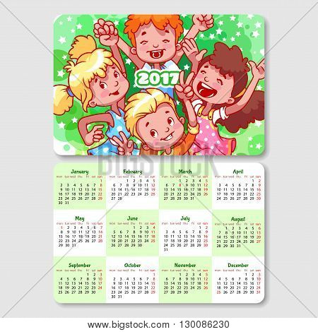 Calendar for 2017 year with happy children. Week Starts Monday. Funny cartoon characters. Vector calendar template horizontal orientation.