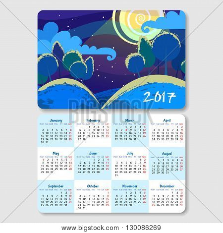 Calendar for 2017 year with landscape of summer night. Week Starts Monday. Vector calendar template horizontal orientation.