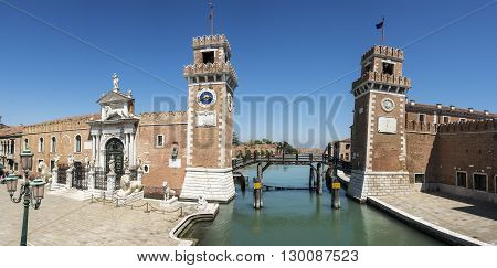 Panorama picture of The Arsenale in Venice , Italy